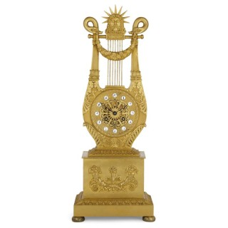 French Neoclassical style lyre-form gilt bronze clock