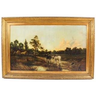 Antique Oil on Canvas Landscape Painting by G. Mallet 19th Cent 101x152cm