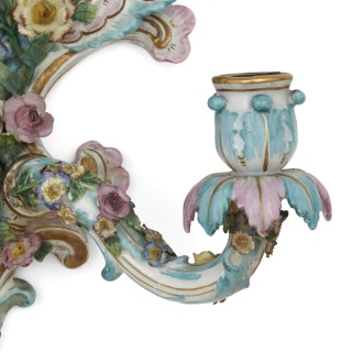 Pair of antique porcelain sconces by Meissen