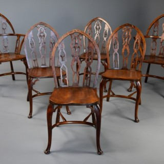 Superb set of six late 19th century Gothic style Windsor chairs