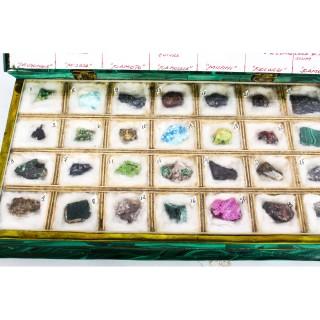 Antique Russian Malachite Book Form Box With Mineral Specimens Circa 1900