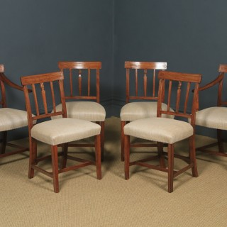 Antique English Set of Six 6 Georgian Mahogany Inlaid Bar Back Dining Chairs (Circa 1830)