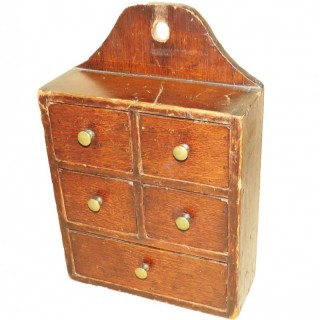 19th Century Oak & Pine Wall Hanging Spice Box