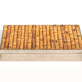 Silver Plated Box With Bamboo Inlaid Lid