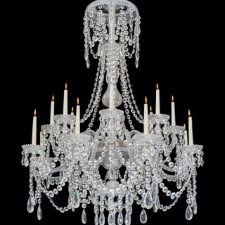 A SIXTEEN LIGHT ANTIQUE CRYSTAL CHANDELIER BY PERRY & CO