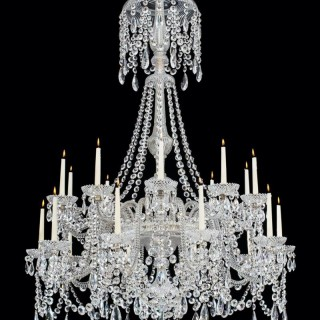 A TWENTY LIGHT CUT GLASS VICTORIAN CHANDELIER BY PERRY & CO