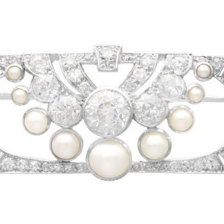 3.51ct Diamond and Pearl, Platinum Brooch - Art Deco - Antique Circa 1930