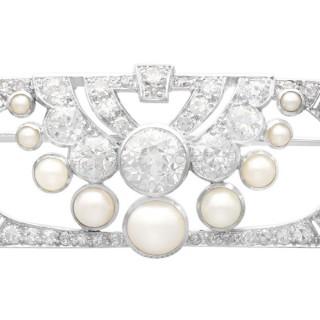 3.51ct Diamond and Pearl, Platinum Brooch - Art Deco - Antique Circa 1930