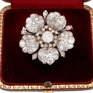11.97ct Diamond and 10ct White Gold Floral Brooch - Antique Circa 1890
