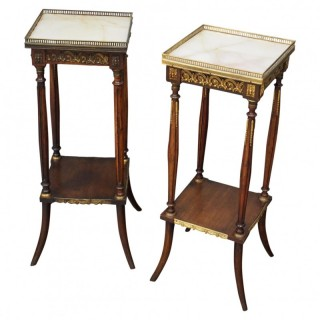 Pair of Louis XV Style Marble Top Stands
