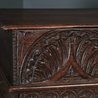 Antique English 18th Century Solid Oak Carved Bible Table Writing Box Trunk Chest (Circa 1700)