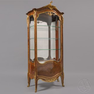 A Fine Gilt-Bronze Mounted Marquetry Inlaid Vitrine