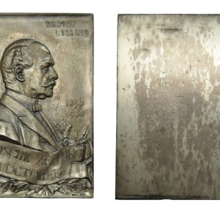 GERMANY, C. ROBERT LESSING, SILVERED AE PLAQUE, 1900