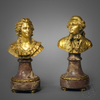 A Pair of Small Gilt-Bronze Figural Busts