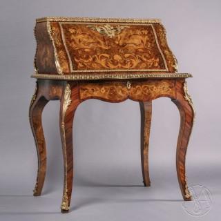 A Fine Louis XV Style Marquetry Inlaid Bureau De Dame
