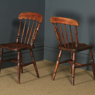Antique English Victorian Pair of Ash & Elm Windsor Bar & Stick Back Kitchen Chairs (Circa 1890)