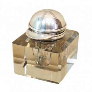 Late 19th Century Silver & Glass Inkwell From Asprey & Sons