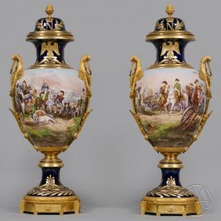 A Fine Pair of Sèvres-Style Napoleonic Porcelain Vases