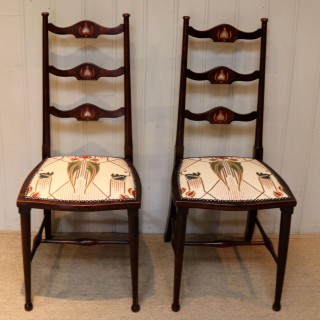 Pair Of Beechwood Art Nouveau Chairs