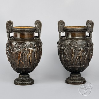 A Fine Pair of Patinated Bronze Models of the Townley Vase