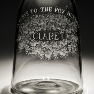A FINELY ENGRAVED PAIR OF LABELLED MALLET DECANTERS