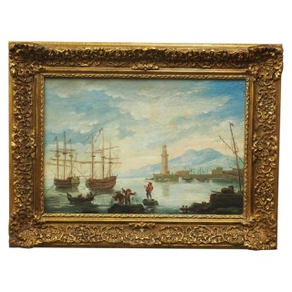 Oil Painting of a Harbour Scene
