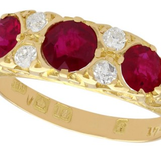 1.85ct Ruby and 0.20ct Diamond, 18ct Yellow Gold Dress Ring - Antique 1923