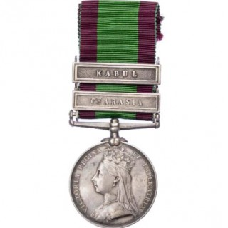 AFGHANISTAN MEDAL 1878-80, TWO CLASPS, CHARASIA, KABUL TO PRIVATE T. WARREN