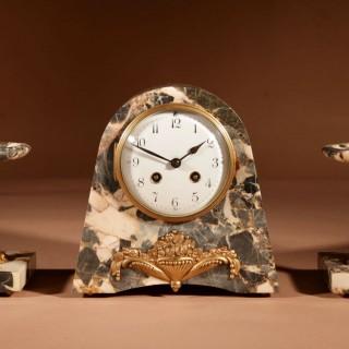 Art Deco French Very Stylish Elegant Clock Garniture, Circa 1920.