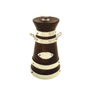 Antique Victorian Silver Plated & Oak Pepper Mill / Pot c1890