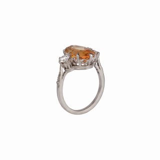 A particularly nice marquise shaped Topaz ring with a pair of clean white diamonds flanking the centre stone