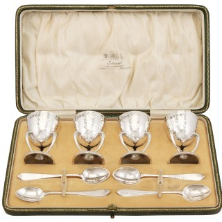 Scottish Sterling Silver Egg Cups and Spoons - Art Nouveau - Antique Edwardian (1909)