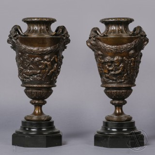 A Fine Pair of Patinated Bronze Bacchanalian Vases
