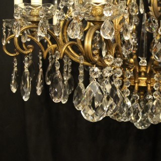 Italian Gilded Bronze & Crystal 22 Light Antique Chandelier