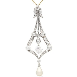 Natural Saltwater Pearl and 3.99ct Diamond, 18ct Yellow Gold Pendant - Antique Circa 1900