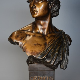 Late 19th century superb quality bronzed terracotta bust of 'Orpheus' after HL Blasche