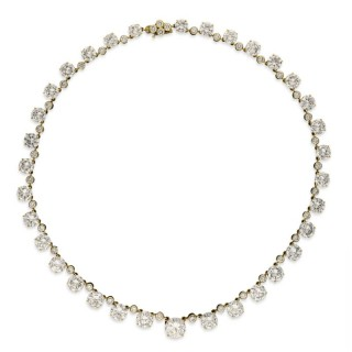 41.49 Carat D-H Color Diamond Riviere Necklace in 18ct Gold, circa 1962