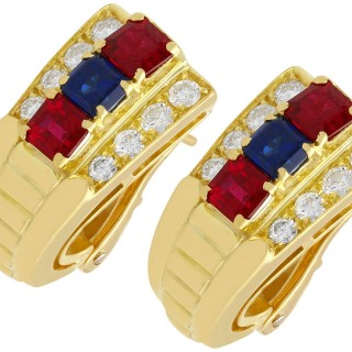 1.38ct Ruby and 0.65ct Sapphire, 0.64ct Diamond and 18ct Yellow Gold Earrings - Vintage Circa 1990