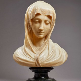 An Emotional Carved Alabaster Bust of the Madonna