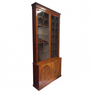 Tall George III Mahogany Cabinet Bookcase