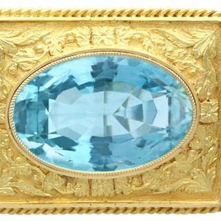 10.46ct Aquamarine and 18ct Yellow Gold Brooch - Antique Circa 1900