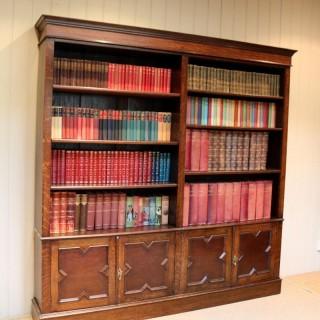 Large Double Front Oak Open Bookcase