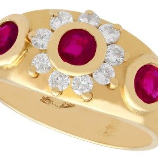 0.60 ct Ruby and 0.20 ct Diamond, 18 ct Yellow Gold Dress Ring - Vintage French Circa 1950
