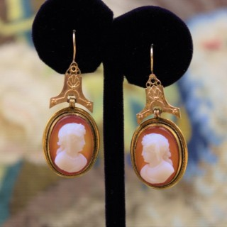 A very fine pair of Hardstone Cameo Drop Earrings mounted in 18ct Yellow Gold, English, Circa 1870 - 80