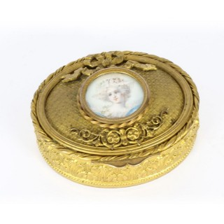 Antique Decorative French Oval Ormolu Pill Box 19th C