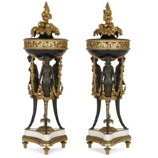 Pair of marble, ormolu, and patinated bronze potpourri vases by Dasson