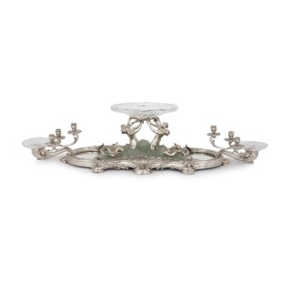 Art Nouveau silver, crystal, and pate de verre table centrepiece by Falize