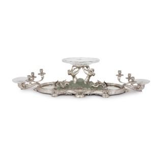 Art Nouveau silver, crystal, and pate de verre table centrepiece by Falize
