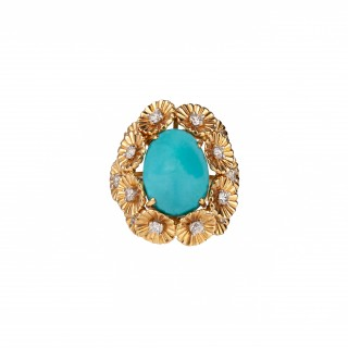 Fine turquoise and diamond ring signed W Russer