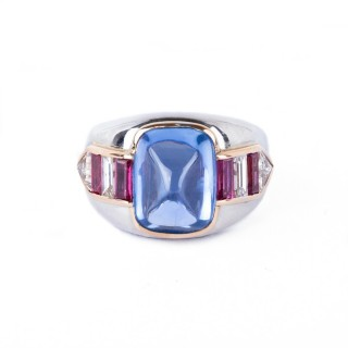 Bulgaria signed sugarloaf sapphire ring mounted in platinum,in its original box and with a diamond and ruby mounted in to the shank